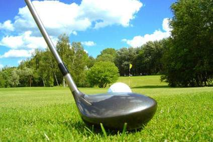Club e palla di golf posto su un green